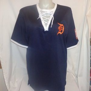 VS Pink L Jersey Shirt Detroit Tigers Lace Up Top